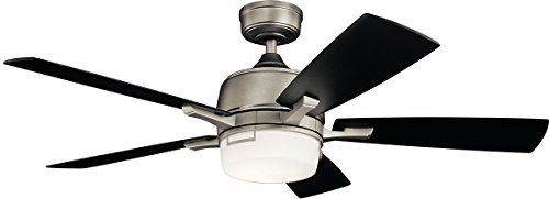 - Kichler Lighting 300457Ap Leeds Led Ceiling Fan with Light, 52-inch, Antique Pewter
