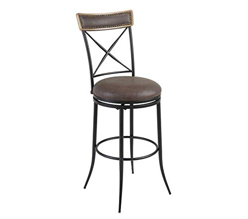 (Deluxe Premium Collection Boise Swivel Seat Bar Stool with Charcoal Finished Metal Frame Wood Stain Seatback and Cocoa Faux Leather Upholstery 30-Inch Seat Height Decor Comfy Living Furniture)