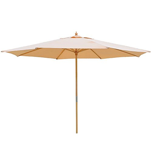 13 Foot Khaki German Beech Wood 180g Water-proof Polyester Rope Pully Market Patio Umbrella Outdoor