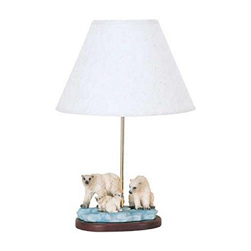 Cal Lighting BO-5702 Kids Novelty Lamp with White Fabric Shades, Polar Bear with Brass - Table Lighting Cal Wood Lamp