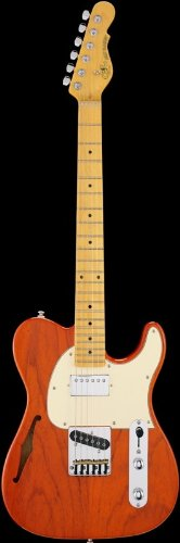 G&L Tribute ASAT Classic Bluesboy Semi-Hollow Electric Guitar Clear Orange Maple Fretboard ()