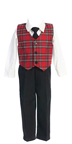 Holiday Christmas New Year's Boy's Suit Red Plaid Infant L 12-18 Months]()