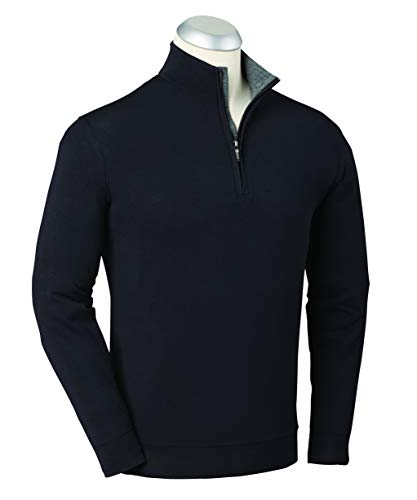 Bobby Jones Mens Liquid Cotton 1/4 Zip Pullover, Black, X-Large