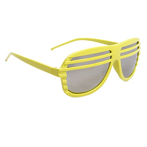 FancyG Cool Fun Party Time Style Costume Party Shutter Shades Mirrored Lens Novalty Sunglasses Frame Unisex Spectacle Eyewear - - Shades With Lenses Shutter