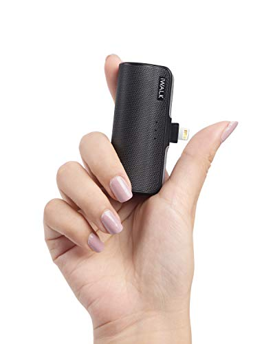 iWALK Mini Portable Charger for iPhone with Built in Cable, 3350mAh Black