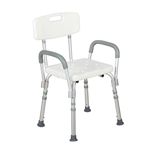 Uenjoy Medical Shower Chair With Backrest And Armrest Adjustable Shower Stools And Benches Safety Bathroom Chair For Shower
