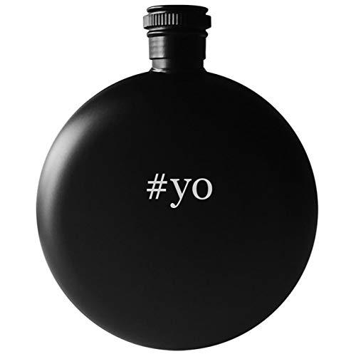 #yo - 5oz Round Hashtag Drinking Alcohol Flask, Matte Black]()