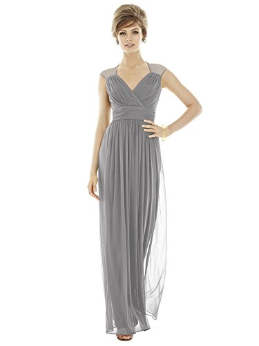 Alfred Sung Style D693 Floor Length Chiffon Shirred Skirt Formal Dress - Cap Sleeves Draped V-Neck - Quarry - 10 - Alfred Sung Bridesmaid Gowns