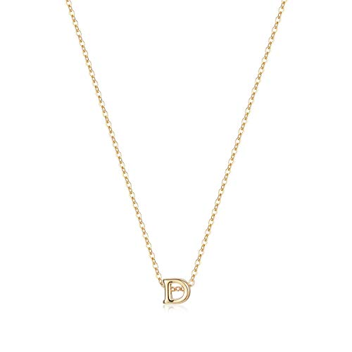 Tiny Initial Necklace, 14K Gold Plated Dainty Letter D Necklace Delicate Small Initial Necklace Personalized Monogram Name Necklace for Girls Women (D)