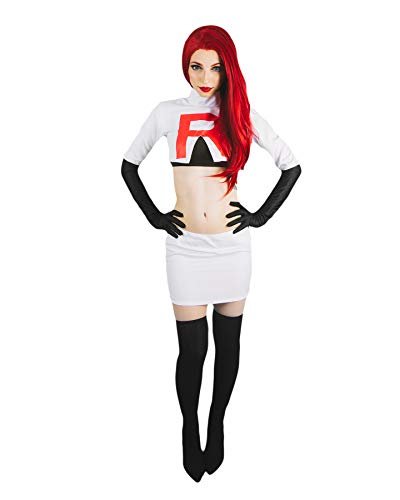 DAZCOS Women US Szie Team Rocket Jesse Printed R Cosplay Costume (Women Medium) White -