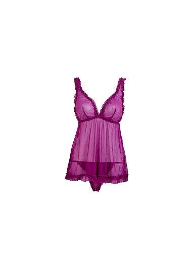 MENRY Normal Ultra Sexy Vêtement de nuit Femme, Col en V Couleur Pleine - Fin Nylon Violet