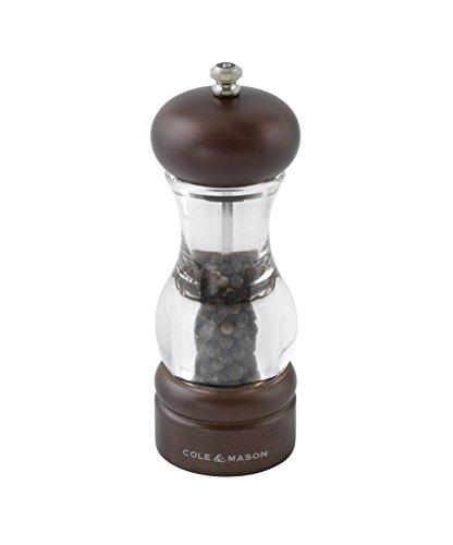 Clear Acrylic Pepper Mill (COLE & MASON 105 Forest Wooden Pepper Grinder - Wood and Acrylic Mill Includes Precision Mechanism and Premium Peppercorns)