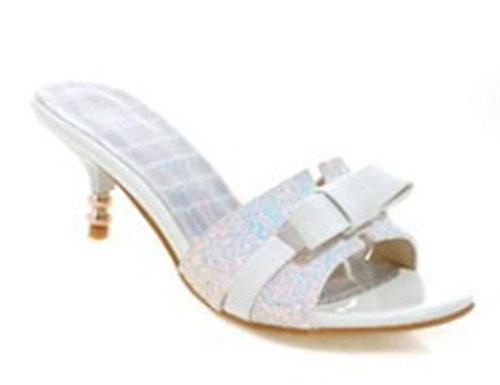 Offene Sandalen und Pantoffeln Frauen in Pailletten Pantoffeln Wort mit Frau white