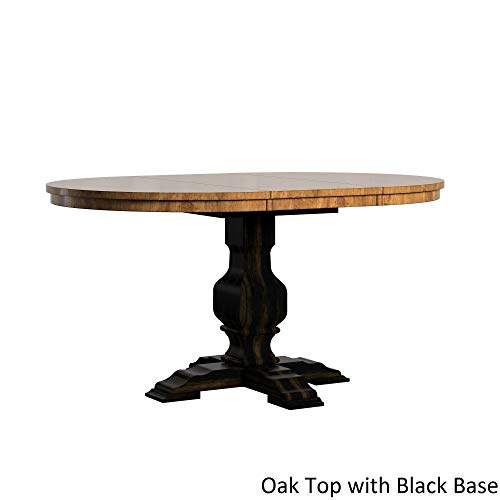 (Inspire Q Eleanor Two-Tone Oval Solid Wood Top Extending Dining Table by Classic Black Antique, Oak Finish, Black Finish, Distressed)
