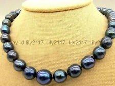 Beautiful New 10-11mm Tahitian Black Natural Pearl Necklace 18