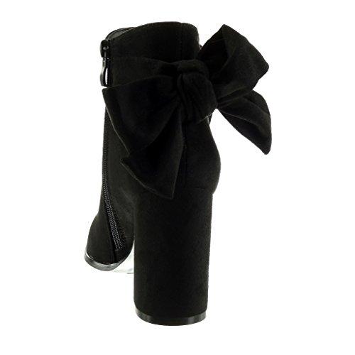 Scarponcini Scarponcini donna CM 9 Pelliccia alto Moda Stivaletti di Foderato Foderato Foderato Scarpe soletta blocco Nero tacco Tacco a da nodo Angkorly nTXqIpOw