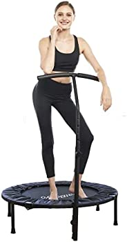 Foldable Mini Fitness Trampoline Handle - for Adults Exercise with 3 Levels Adjustable Handle Bar for Indoor/O