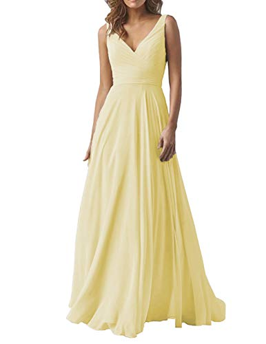 Pale Yellow Wedding Bridesmaid Dresses Long V-Neck Chiffon Formal Evening Party Dress for Women 2019