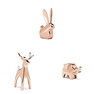 Umbra Anigram Ring Holder– Metal Plated Bunny, Reindeer and Elephant Ring Holders – Great as Party Favors, Copper Ring Holders, Set of 3