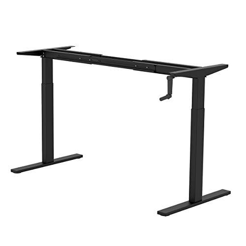 DEVAISE Height Adjustable Standing Desk Frame with Crank Handle, Black