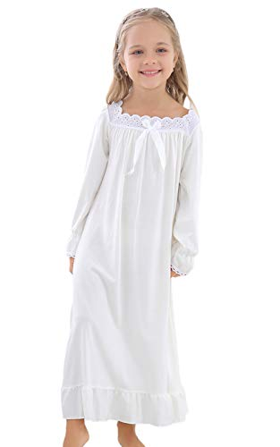 Horcute Girls Mixed-Cotton Long Sleeve Sleep Shirts Nightshirts Pajamas Nightgown White 150# -