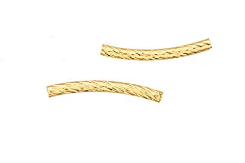 (Thick Tube Metal Tube Beads Gold Finished Round Curved Tube With Twist Patterned 3x30mm Sold per pack of 20 (3 pack bundle), SAVE $2)