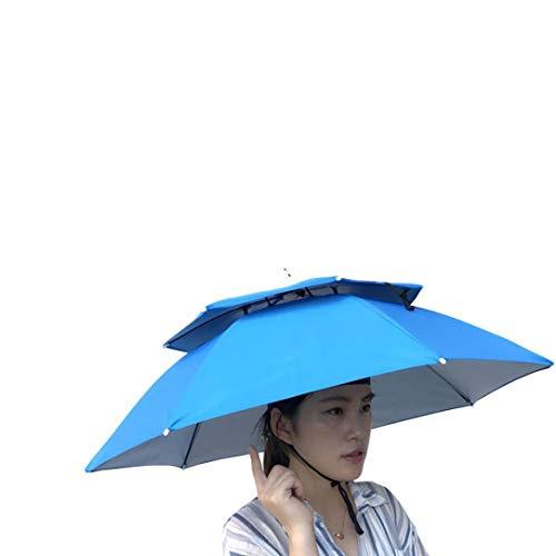 - Umbrella Hat, Sttech1 Novelty Double Layer Sun Hat Golf Fishing Camping Fancy Dress Folding Headwear Waterproof Elastic for Fishing Gardening (Light Blue)