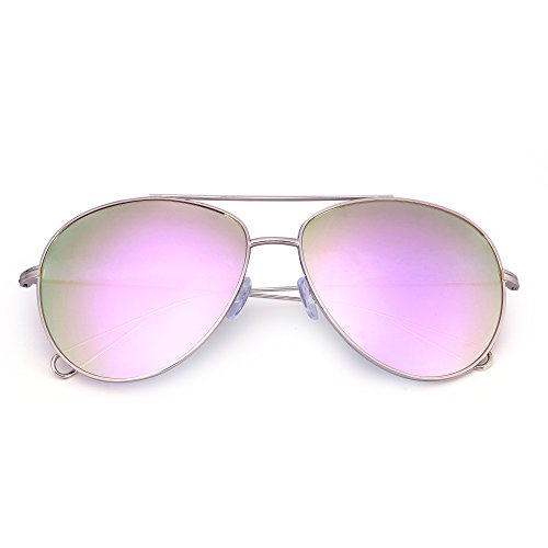 Double Gradient Gold Mirror (Oversized Aviator Sunglasses Men Women Double Bridge Hollow Temple Tips UV400 (Gold / Mirrored Pink))