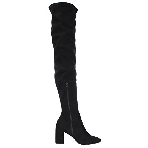 Faux Suede Dress Limit Knee the Chunky Boot 98 Speed Heel Women's Black High Over nZ1IBwUx