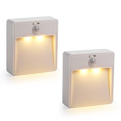 Sunnest 2 Pack Battery-Powered Motion Sensor Light, Cordless LED Closet Lights Stair Lights, LED Stick-Anywhere Nightlight for Bedroom, Bathroom, Kitchen, Hallway, Stairs, Cabinet, Closet (Warm White)