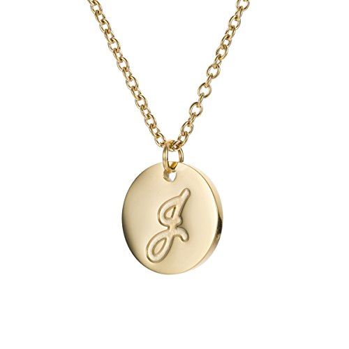 HUAN XUN Stainless Steel Tiny Charm Initial Necklace with Pendant Letter J