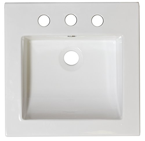 American Imaginations 215-in W x 1775-in D Ceramic Top In White Color For 8-in oc Faucet