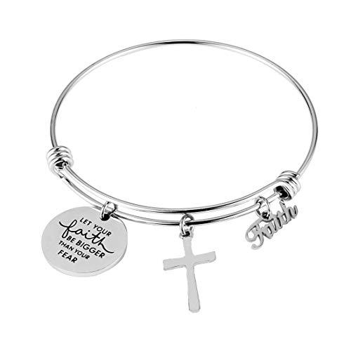 REEBOOO Christian Bracelet,Faith Bracelet, Let Your Faith be Bigger Than Your Fear Gift for Her (Let Your Faith be Bigge Than Your Fear) ()
