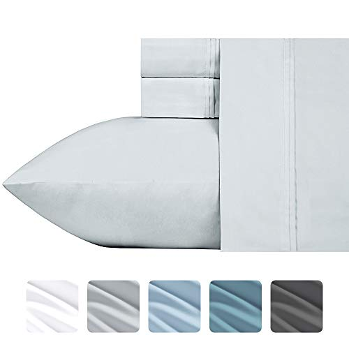 #1 Bed Sheet Set - HIGHEST QUALITY 700-Thread-Count Cotton Blend Sheet Set Silver Queen, 4-Piece Bedding Sheets For Bed on Amazon, Silky Sateen Weave, Poly Cotton, Fits Mattress Upto 18'' Deep Pocket