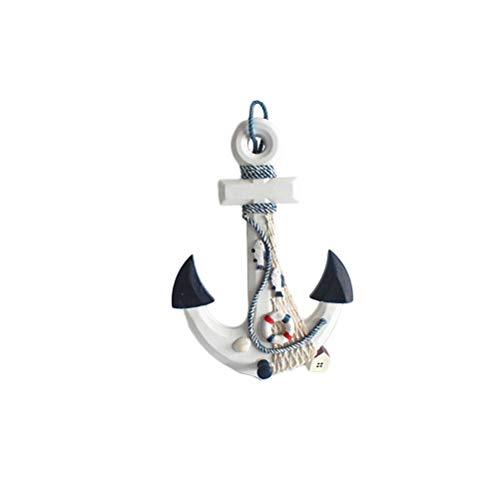 Vosarea Rueda de Ancla de Madera de Estilo Mediterráneo Barco Náutico Ancla Decoración de Pared Náutica para Casa