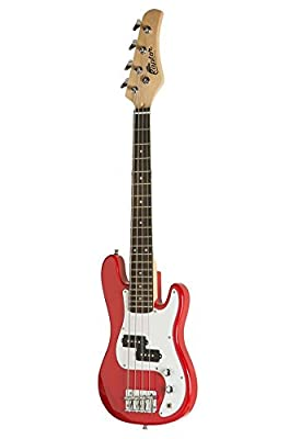 Raptor 3/4 Size 38 Inch Kids Child 4 String Electric P Bass Package - RED with 5W Amp, Gig Bag, Strap, Cable, Pick