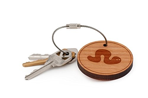 Worms Parasitic - Worm Keychain, Wood Twist Cable Keychain - Large