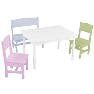 KidKraft Nantucket Table with Bench and 2 Chairs – Pastel