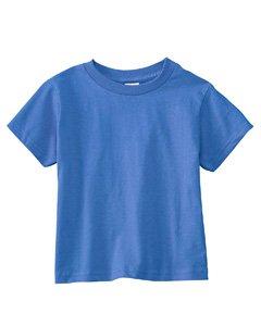 Rabbit Skins 100% Cotton Blank Toddler Football Jersey Tee [Size 5T/6T] Iris Blue Balloon Sleeve T-Shirt