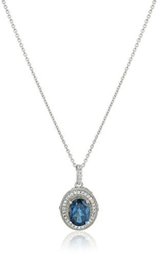 Sterling Silver Oval London Blue Topaz with Round Created White Sapphire Pendant Necklace, (Round Blue Sapphire Pendant)