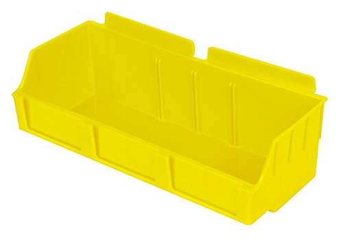 Slatwall Storage / Display bin, Plastic (polypropylene), 4.12''L x 11.37''W x 3.37''H, Yellow (12 Pack) Fits grid and pegboard with optional adapters. by Slatbox brand, Storbox Wide model