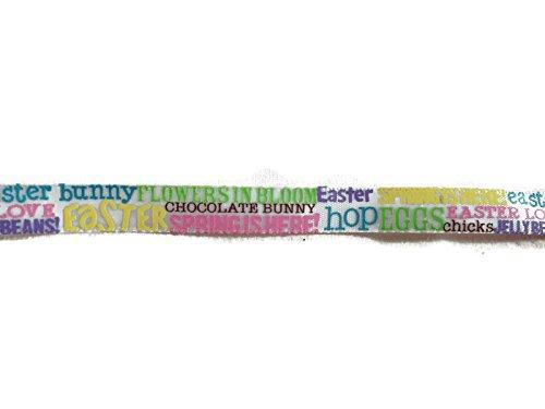 (Satin Easter Bunny Words Phrases Print Ribbon - 3)