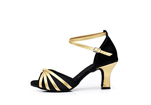 ShangYi Dance Shoes Women's Latin Dance Shoes Women's Adult Dance Shoes Women's Latin Dance Latin Shoes Ballroom Dance Square, with Height 5cm Black