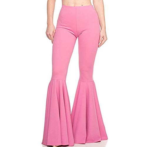 GUOLEZEEV Women Trousers Stretchy High Waist Solid Color Wide Leg Loose Pants M Pink ()
