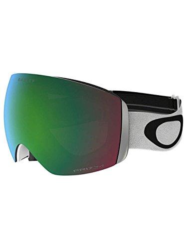 Oakley Men's Flight Deck Snow Goggles, Matte White, Prizm Jade Iridium, - Blue With White Lenses Oakleys