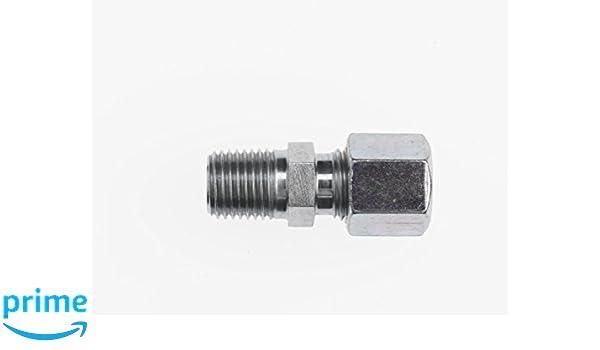 M18 x 1.5 NPT x 1//4-18 NPTF Thread M18 x 1.5 NPT x 1//4-18 NPTF Thread Inc. Brennan Industries D8050-S10-04-NBR Steel Straight Male Stud Coupling Bite 10 mm Tube Size