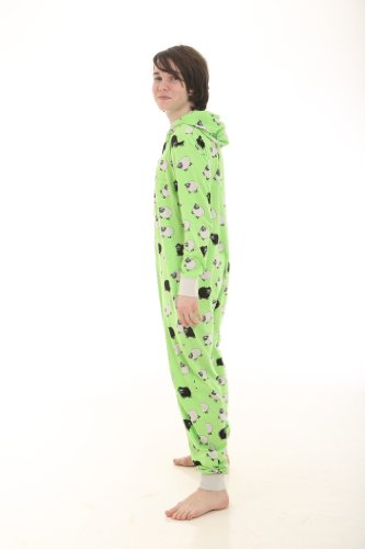 Funzee non Footed Pajamas Adult Onesie Jumpsuit Sheep on Green (Large) (Sheep Onesie For Adults)