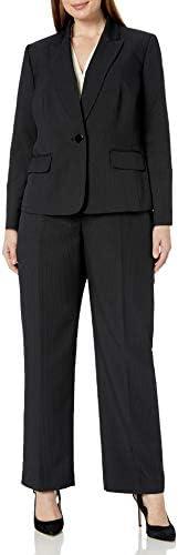 Le Suit Women's 1 Button Peak Lapel Novelty Pinstripe Pant Suit