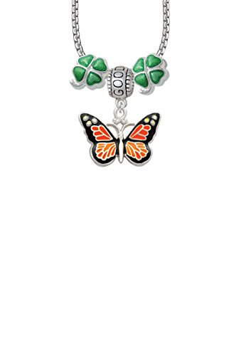 Monarch Butterfly Bead (Large Monarch Butterfly with 6 AB Crystals Good Luck and Clover 3 Bead Necklace)