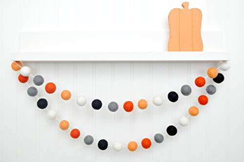 Orange Gray Black White Felt Ball Garland, Pom Pom Banner, Halloween Decoration, Fall Decor -